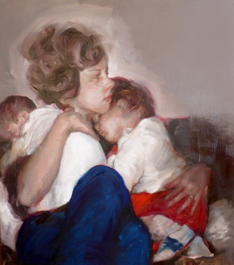 'Mother of Two', Bay Backner - Mother and child oil painting