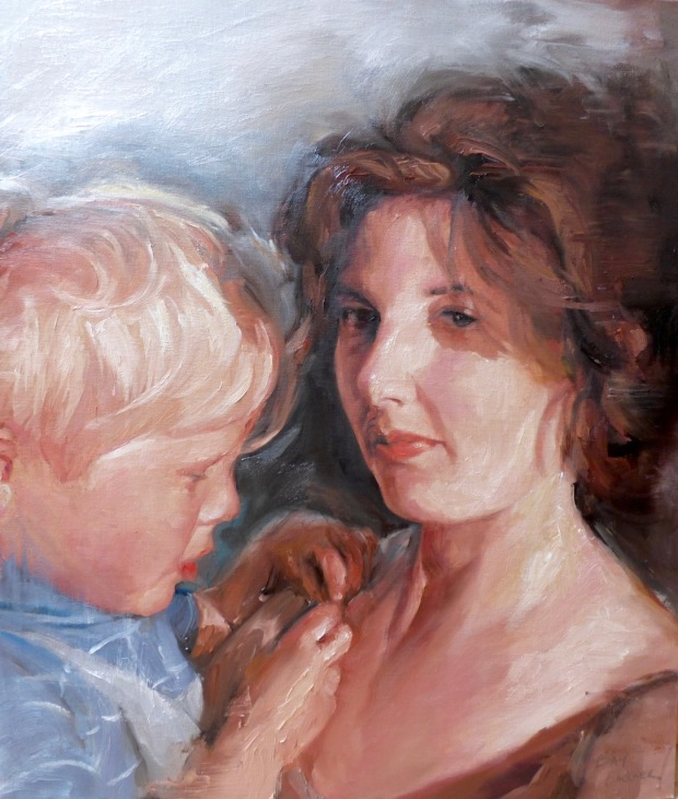 Mother and child oil painting by Bay Backner