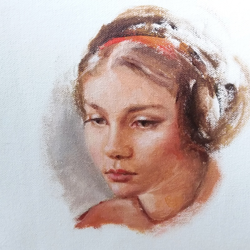 Study for painting of Emma's portrait, oil on canvas