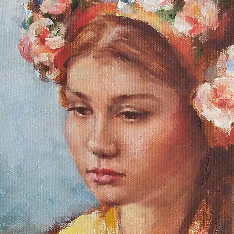 Portrait painting of Emma, oil on canvas (detail of face)
