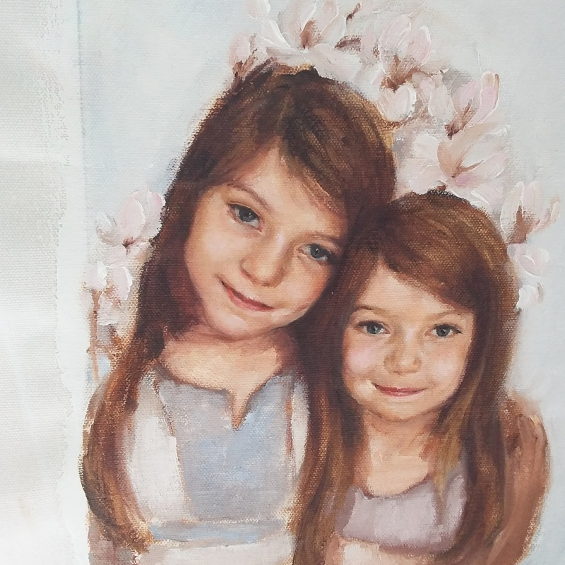 Portrait painting of sisters Bella and Maia in oil on canvas