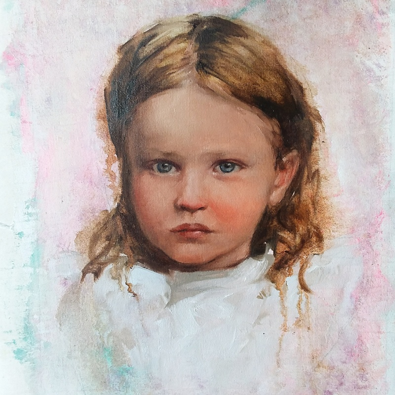 Scarlet, 2016, Bay Backner - portrait painting from a found photograph of Civil War childhood