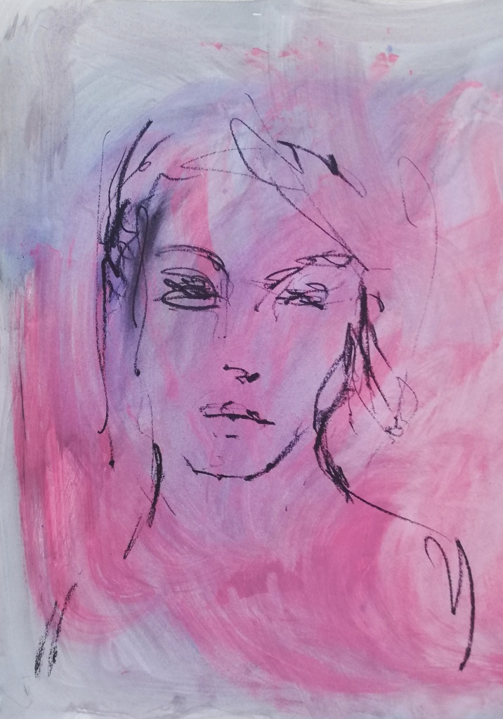 Amber, Bay Backner, 2020 - Oil Pastel, Ink, Acrylic and Spray on paper, 35x50cm