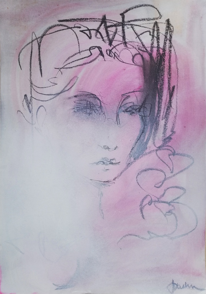 Lydia, Bay Backner, 2020 - Oil Pastel, Ink, Acrylic and Spray on paper, 35x50cm