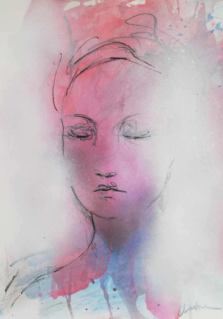 Nicolette, Bay Backner, 2020 - Oil Pastel, Ink, Acrylic and Spray on paper, 35x50cm
