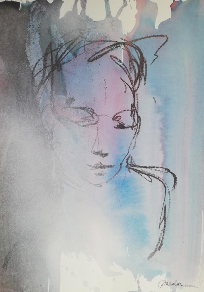 Valerie, Bay Backner, 2020 - Oil Pastel, Ink, Acrylic and Spray on paper, 35x50cm